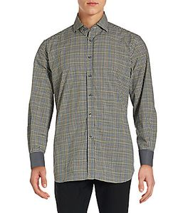 Corneliani | Long Sleeve Checkered Cotton Shirt