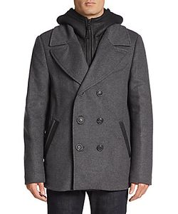 Mackage | Leather Accented Wool-Blend Peacoat