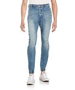 Zanerobe | Distressed Faded Cotton Blend Jeans