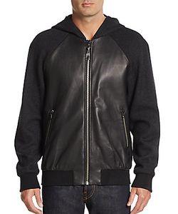 Mackage | Leather Paneled-Knit Hoodie