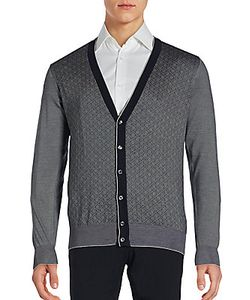 Brioni | Textured Cotton Blend Long Sleeve Cardigan