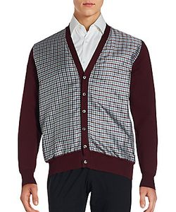 Brioni | Check Printed Cotton Blend Long Sleeve Cardigan