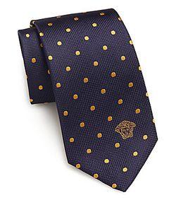 Versace Collection | Woven Polka Dot Silk Tie