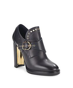 Salvatore Ferragamo | Leather Gancio Buckle Monk Strap Booties