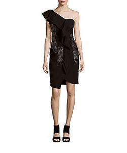 J. Mendel   One-Shoulder Sheath Dress