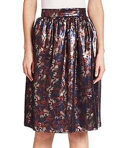 Mother Of Pearl | Albany Metallicized Blossom-Print Skirt