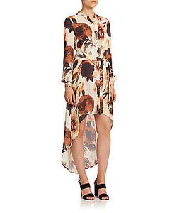 Haute Hippie   Floral Silk Hi-Lo Shirtdress