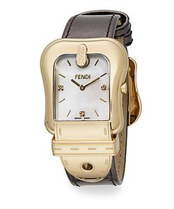 Fendi   B. Tone Ip Leather Buckle Watch