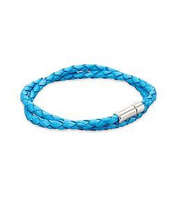 Tateossian | Silver Pop Braided Leather Bracelet