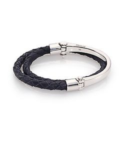 Miansai | Rovous Sterling Braided Leather Half Cuff Bracelet