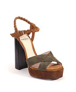 Lanvin   Braided Suede Platform Sandals