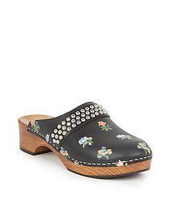 Saint Laurent | Studded Prairie-Print Leather Clog Sandals