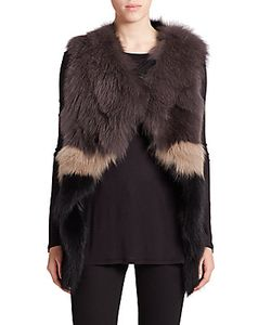 Meteo By Yves Salomon | Colorblock Fox Fur Vest
