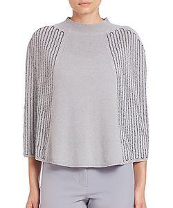 Halston | Embellished Wool Cashmere Poncho Cape