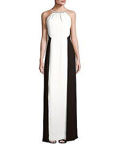 H Halston   Halter Floor-Length Dress