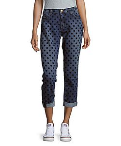 Current/Elliott | Dot-Print Rollover-Cuff Cropped Jeans