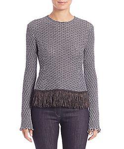 Derek Lam   Crochet Tweed Fringe-Trim Top