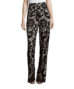 Alice + Olivia | Lace High-Waist Straight-Fit Pants