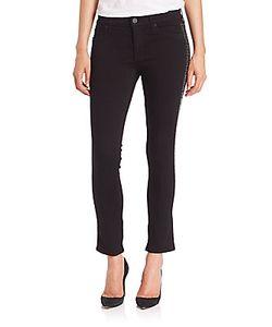 Hudson   Luna Mid-Rise Studded Tuxedo-Stripe Skinny Jeans