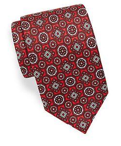 Brioni | Geometric Floral Pattern Tie