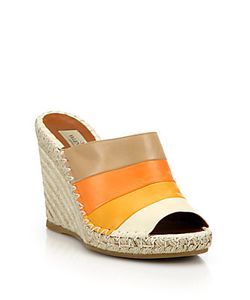 Valentino | Colorblock Leather Espadrille Mules
