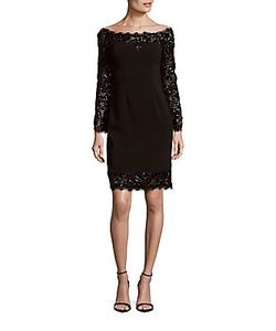 Calvin Klein | Embellished Eyelash-Trim Dress