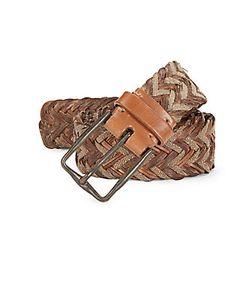 John Varvatos   Distressed Braided Leather Canvas Belt