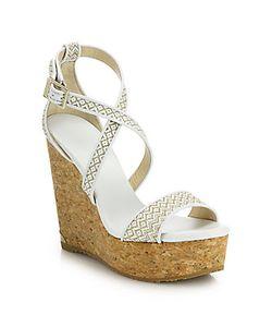 Jimmy Choo | Portia Woven Fabric Cork Platform Wedge Sandals
