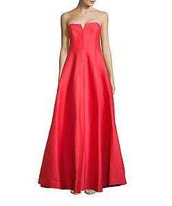 Halston | Strapless Notch-Neck Gown
