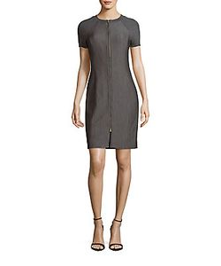 Halston Heritage | Front Zipper Raglan-Sleeve Dress