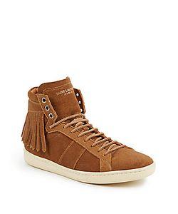 Saint Laurent | Court Classic Suede Fringe High-Top Sneakers