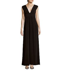 Halston | Solid V-Neck Sleeveless Gown