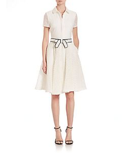 Badgley Mischka | Short-Sleeve Belted Shirt Dress