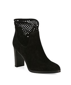 Diane von Furstenberg | Jaen Mesh Suede Point-Toe Booties