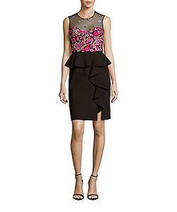 Marchesa Notte | Embroidered Sleeveless Peplum Dress