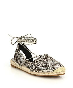 Michael Kors Collection | Tiffany Snakeskin Lace-Up Espadrille Flats