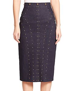Tamara Mellon | Studded Denim Pencil Skirt