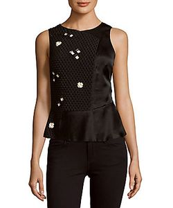 3.1 Phillip Lim | Beaded Textured Peplum Top