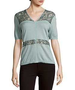 Yigal Azrouel | Lace-Inset Silk Cashmere-Blend Top