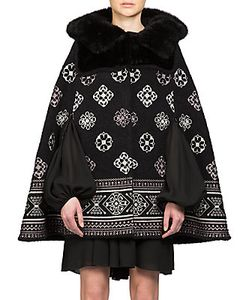 Giambattista Valli | Faux Fur Hooded Cape