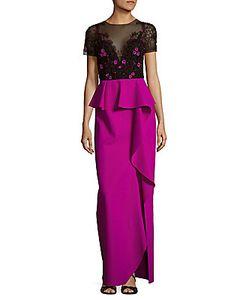 Marchesa Notte | Ruffled Peplum Dress