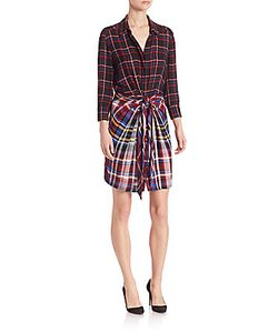 L'agence | Kylie Plaid Tie-Front Shirtdress
