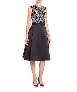 Jason Wu | Embroidered Silk/Cotton Satin Twill Dress