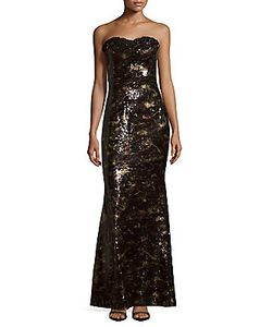 Marchesa Notte | Strapless Sequined Gown