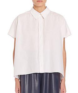 Alberta Ferretti   Boxy Cotton Button Down Shirt