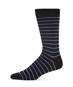 Saks Fifth Avenue | Pinstriped Combed Cotton-Blend Socks