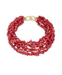 Kenneth Jay Lane | Dark Coral Shell Tiered Necklace