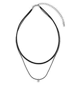 Noir   2-Row Patent Leather Choker Necklace