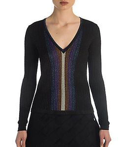 Marco de Vincenzo   Striped Lurex V-Neck Sweater