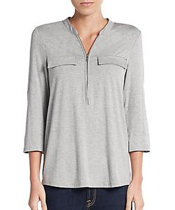 Calvin Klein | Zip Roll-Sleeve Top